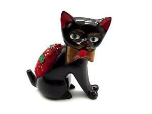 Vtg Ceramic Cat Pin Cushion Tape Measurer Sewing Tool Figurine Japan Hand Pain