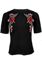 Ladies Short Sleeve See Through Mesh Floral Rose Embroidery Print T-Shirt Top