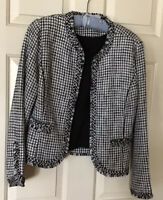 White House Black Market Plaid Blazer Jacket Metallic Thread Size MPetite