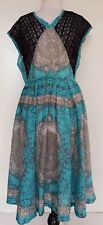 TRELISE COOPER Aqua/Grey/Black Dress Size 12