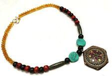 Banjara Tibetan Tribal Necklace Brass Multi Stone Pendant Beautiful Vintage Rare