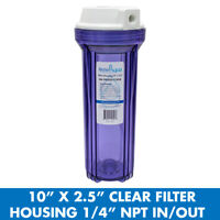 """10"""" x 2.5"""" Clear Water Filter Housing For Whole House - 1/4"""" NPT Outlet/Inlet"""