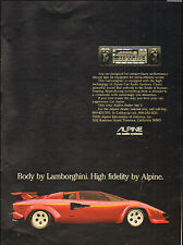 1981 Vintage ad for Alpine Car Audio Systems Lamborghini Red  Photo