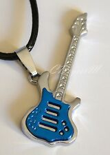Stainless Steel Blue Silver Guita Pendant Leather Band Necklace Unisex Boy Man