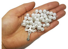 Simulated Pearl Rosary Beads Catholic Prayer Beads Gift Necklace Jewelry