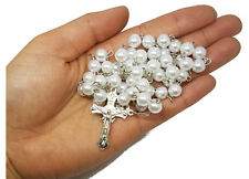 8mm Simulated Ivory White Pearl Rosary Bead Beads Gift Necklace Jewelry