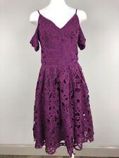 Venus Womens 2 Purple Lace Cut Out Shoulder Short Sleeve Fit Flare Sheath Dress