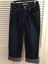 Chico's Platinum high waist denim crop pants cotton stretch sz 0 dark wash