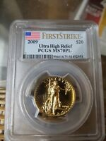 2009 Ultra High Relief Gold Double Eagle MS70 FS PL PCGS St Gaudens Flag Label