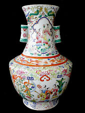 19CT Chinese Daoguang LG Balluster Vase Famille Rose Meiren Motif w. Reign Mark