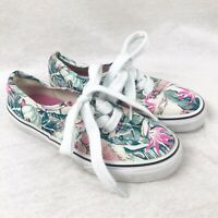 Vans Old Skool Pink & Green Tropical Floral Canvas Trainers Shoes Girls Size 1