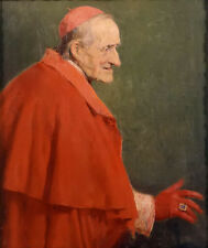 Oil painting jose benlliure y gil - cardenal romano old man in red on canvas art
