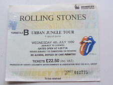 THE ROLLING STONES TICKET, 4TH JULY 1990 URBAN JUNGLE TOUR WEMBLY ,LONDON, UK