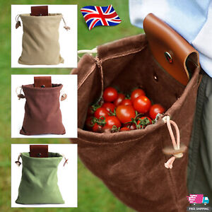 Outdoor Canvas Bushcraft Foraging Pouch Bag for Hiking Picking Seashells W/ Belt