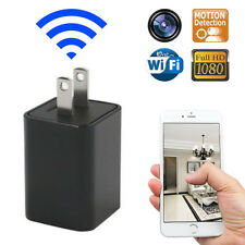 ES_ Spy Camera Adapter Charger AC Wall Phone Wireless WiFi Hidden Cam 1080P Welc