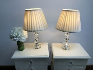 John Lewis Rosalie Stacked Crystals Table Lamps with Pleated Shades, 2
