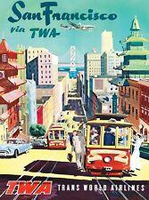 1950 Vintage San Francisco Travel PHOTO Trolleys, TWA Airlines Poster Print