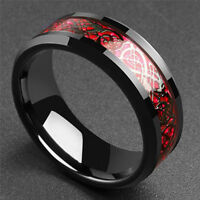 8mm Black Tungsten Ring Red Celtic Dragon Black carbon fiber Ring Men's Jewelry