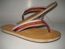 Louis Vuitton Women US 7.5 Monogram LV Red Beige Flip Flops Flat Sandals Shoes