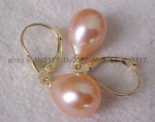 AAA new Real 9-10MM south sea pink pearl earrings 14K GOLD