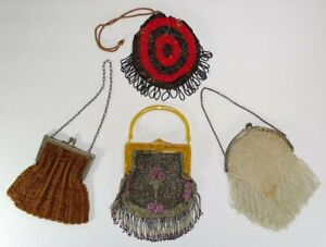 Antique-Vintage Beaded Bag Purse Lot *PARTS or REPAIR* Glass Metal Beads
