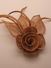 Ladies Elegant brown sinamay and Feather Fascinator on Clip