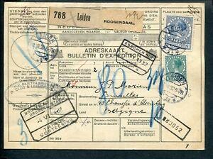 1932 pakketkaart van LEIDEN via ROOSENDAAL naar Brussel; comb.fr. 1 gld. VETH
