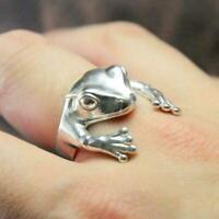 Netter Frosch Ring Frauen Silber Retro Persönlichkeit Schmuck verstellbar W5B6