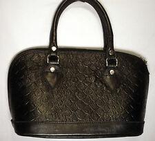 womens handbag bucket shape black real leather medium