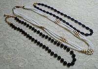 VINTAGE ASSORTED BLACK WHITE & NAVY GLASS BEADED NECKLACE LOT