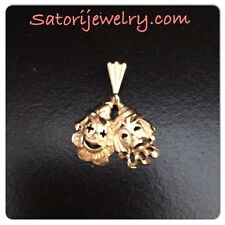 14K YELLOW GOLD HAPPY AND SAD FACE CLOWNS PENDANT CHARM **FREE SHIPPING **