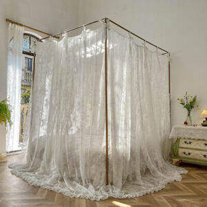 romantic mosquito net lace bed curtain with stainless steel tubes bed netting