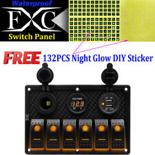 6 Gang Toggle Switch Panel Breaker Orange LED Voltmeter RV Car Marine Boat 12V