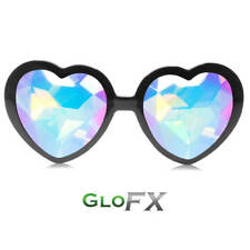 GloFX Black Heart Shaped Kaleidoscope Glasses - Rainbow Rave Prism 3D Sunglasses