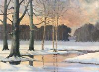 Ölgemälde Winterabend Winterlandschaft G.K. Hansen Dänemark Dyrehavn38 x 51,5