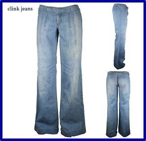 jeans pantaloni da donna a zampa vita bassa palazzo vintage larghi nuovi w27 w29