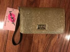NWT BETSEY JOHNSON LUV BETSEY Gold Glitter Wristlet LB GLITZY, FREE SHIPPING