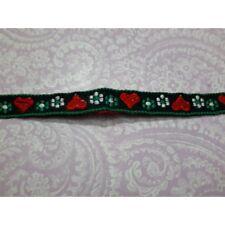 8521) Metri 5 di Passamaneria nastro in tessuto verde con motivo cuori e fiori a