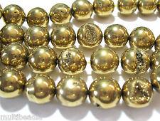 "Bright Gold Agate 16mm Druzy Round 12 Big Beads 7.5"" Accent Focal Statement"