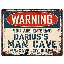 PP3735 WARNING ENTERING DARIUS'S MAN CAVE Chic Sign man cave Decor Funny Gift