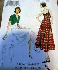 1940s Vogue Vintage Model Dress Sewing Pattern 6-8-10-12-14 UC