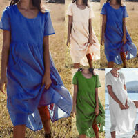 Women Summer Linen Loose Short Sleeve Plus Size Party Boho Beach Maxi Long Dress