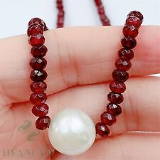 12x12mm White Baroque Pearl Pendant Ruby Necklace 18 inches Jewelry Flawless