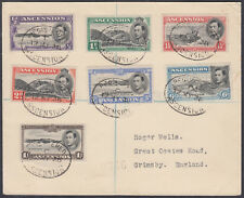 1938 Ascension 12 MY 38 Set to 1s scarce FDC Registered to Grimsby, England