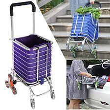 Folding Shopping Cart, Portable Stair Climbing Utility Cart with Swivel Wheel