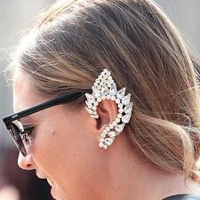 Big Diamante Rhinestone Crystal Ear Cuff Stud Earring Gold Statement Clip Punk