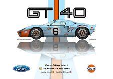 Print on Canvas Ford GT40 Mk. l 1969 #6 Ickx (BEL) Oliver (GBR) Vert. 80 x 60