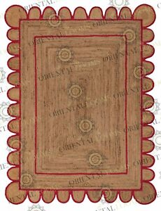 Scallop Jute Red Hand Made Rug, Bohemian Decor, Customize in Any Size....
