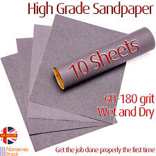 Sandpaper 10 Sheets Wet or Dry Grit 60-180 High Quality Value Silicone Carbide