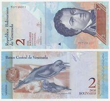 VENEZUELA 2 bolivares 2013 p-88f UNC Uncirculated billet-Dolphin + Free Note
